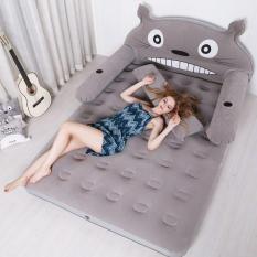 Bộ sản phẩm giường hơi hình mèo (1m5 Xám) Tặng kèm bơm điện, gối, bịt mắt, bịt tai, keo và miếng vá