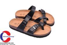 Dép sandal xỏ ngón da pu đen đế trấu