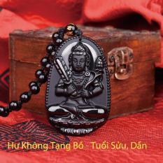 Dây chuyền mặt Phật Bản Mệnh Hư Không Tạng Bồ Tát cho tuổi Sửu, Dần mang lại may mắn, năng lượng, thành công bằng đá thủy tinh núi lửa Obsidian tự nhiên