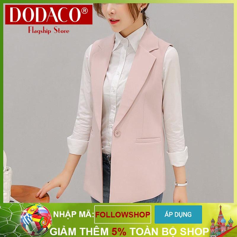 Áo gile nữ áo khoác nữ thời trang nữ DODACO LAS1943 – 309RX (Hồng)