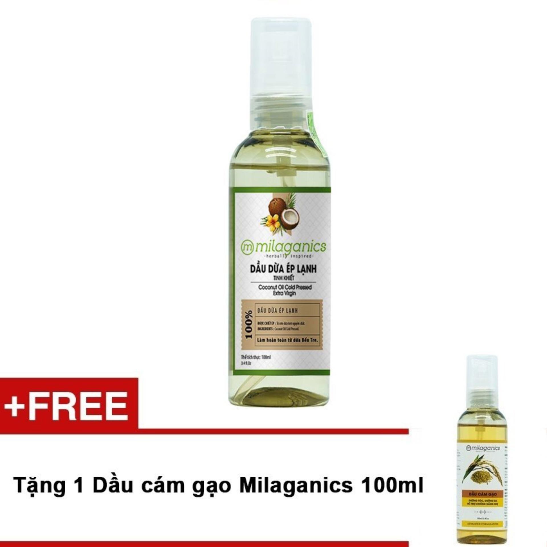Dầu dừa ép lạnh tinh khiết Milaganics 100ml + Tặng dầu cám gạo Milaganics 100ml
