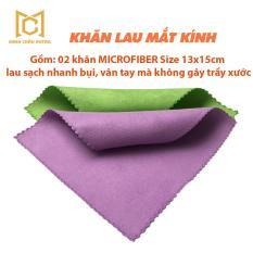 Khan lau mat kinh – Bộ 2 khăn lau mắt kính Micofiber size 13×15 cm mềm mịn, sạch nhanh, không gây trầy xước
