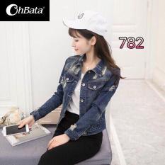 Áo Khoác Jeans Nữ Xé Gấu Cao Cấp OHS782