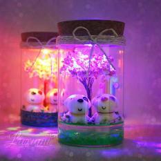 Quà tặng sinh nhật – Lọ pha lê tiểu cảnh trang trí có gắn đèn LED phát sáng (CẶP CÚN) – Quà tặng bạn gái – Quà tặng handmade – Quà tặng người yêu – Quà tặng bạn gái – Quà tặng độc đáo – Quà tặng sáng tạo
