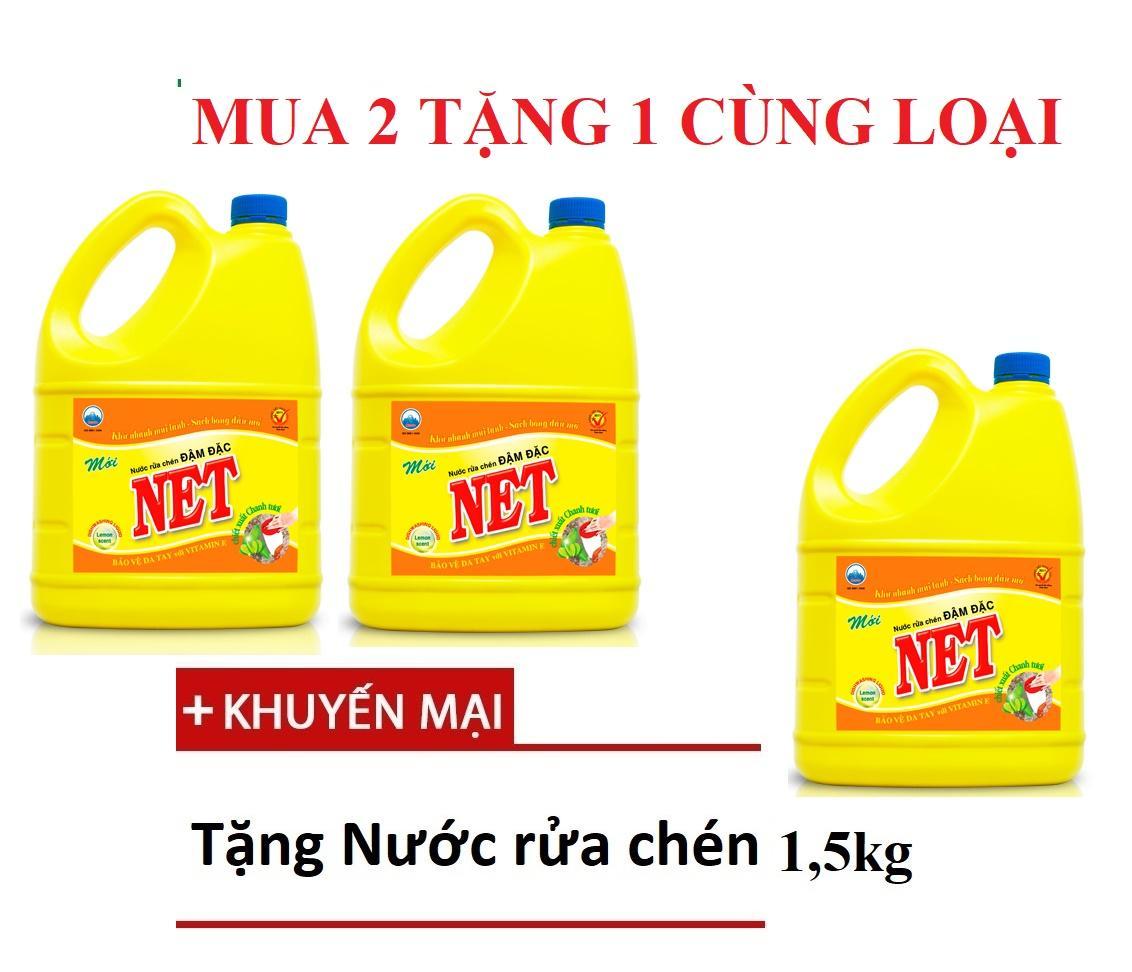 [Combo 2 tặng 1] 2 Nước rửa chén Net Đậm Đặc 1,5kg tặng 1 chai cùng loại