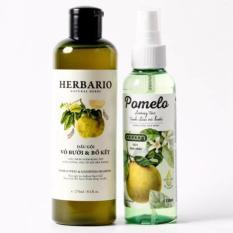 Bộ trị rụng tóc dầu gội vỏ bưởi bồ kết Herbario và tinh dầu bưởi Pomelo