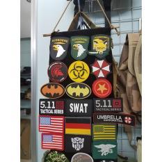 Miếng dán logo sticker patch cờ Mỹ dán trang trí balo lính áo lính