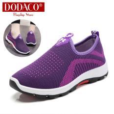 Giày mọi nữ đế bằng DODACO DDC2025 A67 Giày lười slip on đẹp giá rẻ mẫu mới hot trends 2019 màu đen đỏ tím xám giầy giay moi nu de bang giay luoi dep gia re mau moi mau den do tim xam
