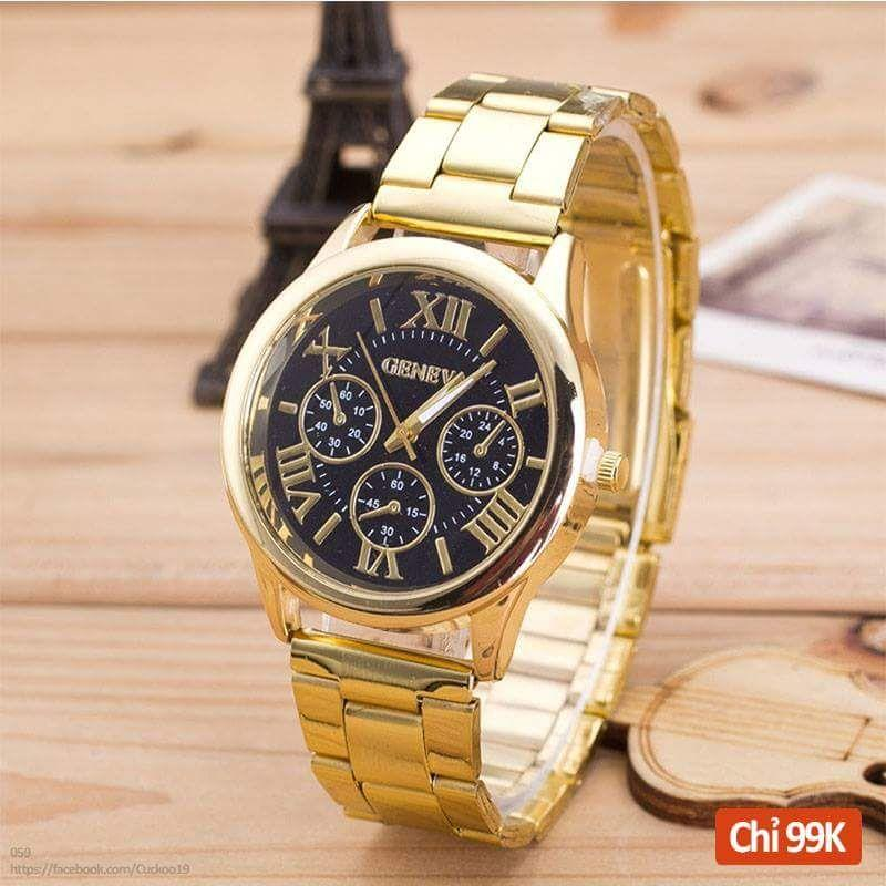 đồng hồ nam Geneva kim loại xi ánh vàng kim