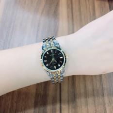 Đồng hồ nữ mạ vàng cao cấp Halei dây demi mặt đen 502 HL02873