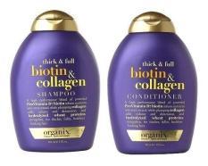 Bộ 1 chai dầu gội và 1 chai dầu xả chống rụng và kích thích mọc tóc Thick & Full Organix Biotin & Collagen