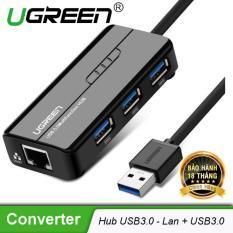 HUB USB 3 cổng 3.0 kèm cổng mạng LAN 10/100/1000 Mbps UGREEN CR103 20265 – Hãng phân phối chính thức
