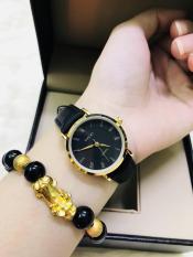 Đồng hồ Nữ Halei 540 dây da thời thượng TẶNG 1 vòng may mắn (dây đen mặt đen)