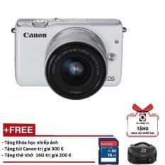 Canon EOS M10 kèm lens Kit EF-M 15-45mm STM (Màu trắng)- Hàng Canon Lê Bảo Minh – Tặng khoá học nhiếp ảnh EOS + Thẻ SD 16GB + Túi ( Hãng phân phối chính thức)