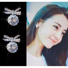 Khuyên tai bạc Ý s925 hình nơ đính kim cương nhân tạo Hàn Quốc (BT07)