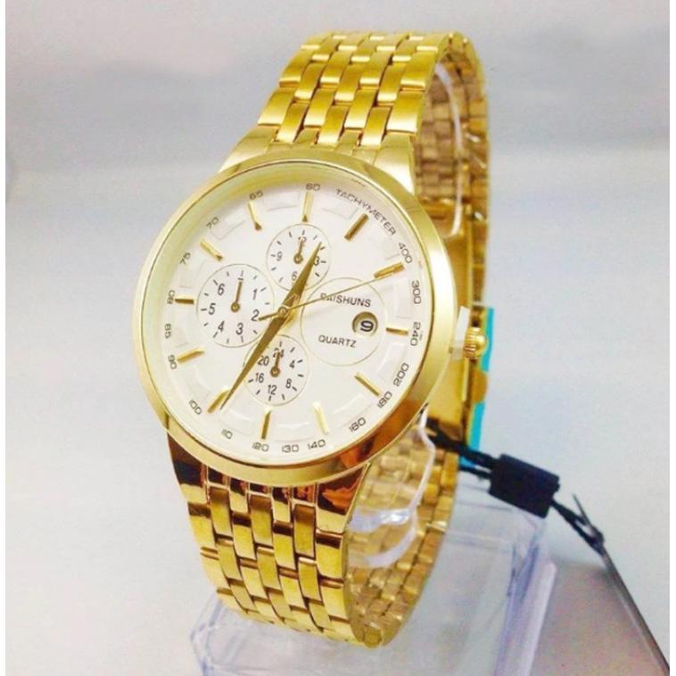 Đồng hồ nam BAISHUNS vàng kim mặt trắng