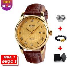 Đồng hồ nam doanh nhân viền mạ vàng sang trọng SKMEI VK015 dây da cao cấp