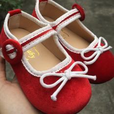 Giày búp bê nhung đỏ phối viền nơ trắng
