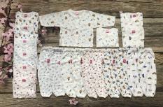COMBO 10 Bộ Quần Áo sơ sinh dài tay màu trắng in hình cho bé ( Từ sơ sinh – 8 kg )