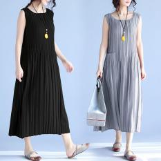 Váy Liền Xếp Ly Không Tay Size Lớn Phong Cách Hàn Quốcdành Cho Nữ