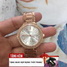 [TẶNG HỘP ĐỰNG CAO CẤP] Với thiết kế viền đá chắc chắn đẹp mắt, cùng chất liệu dây thép đúc chống gỉ thời trang, chiếc đồng hồ nữ thương hiệu GUOU luôn làm hài lòng bạn gái G42-DFK