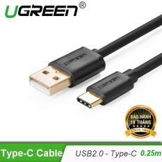 Cáp USB 2.0 sang USB Type C mạ vàng dài 25CM US141 30157 – Hãng phân phối chính thức
