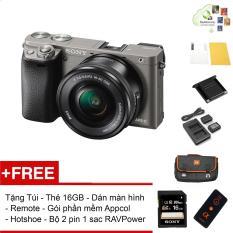 Sony A6000 24.3MP với lens Kit 16-50 (Xám) – Tặng thẻ nhớ + Túi + Dán màn hình + Remote + Gói cài app + Nắp hotshoe + Bộ 2 Pin 1 Sạc đôi RAVPower FW-50 – Hàng phân phối chính hãng