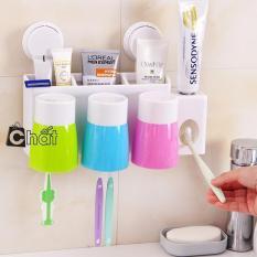 Bộ dụng cụ nhả kem đánh răng + Đựng bàn chải + 3 Cốc + …(Hàng Cao cấp)