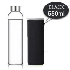 Bình nước thuỷ tinh cao cấp chịu nhiệt, chống va đập 550ml (đen) Tặng kèm bao cách nhiệt
