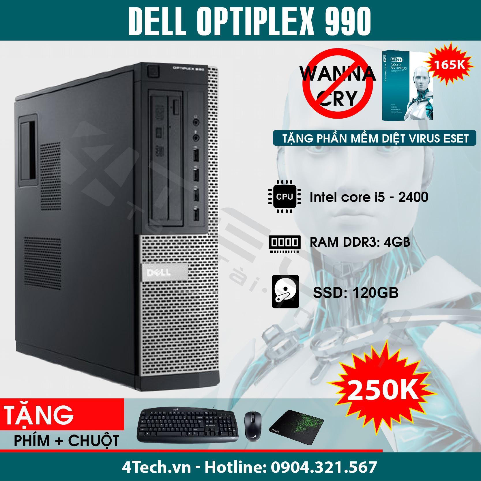 Máy Tính Đồng Bộ Dell Optiplex 990 Intel Core i5-2400, Ram 4GB, SSD 120GB - Mua 1 Tặng 10.