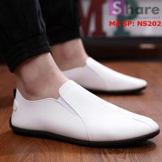 (TẶNG TẤT LƯỜI CAO CẤP) – Giày Lười Nam Hàn Quốc Màu Trắng