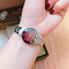 Đồng hồ nữ Halei dây thép TẶNG 1 vòng tỳ hưu phong thủy may mắn đồng hồ dây trắng mặt đỏ