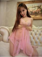 Áo đầm ngủ Von Lưới CDAN01 (hồng phấn)