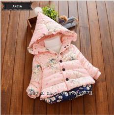 Áo khoác phao hồng họa tiết hoa cho bé gái