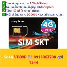 Sim 4g vinaphone vd89 plus tặng 120gb miễn phí nghe gọi mỗi tháng