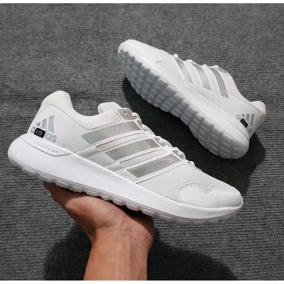 Giày Thể Thao Sneaker Nam Nữ ( Trắng Sọc Bạc)