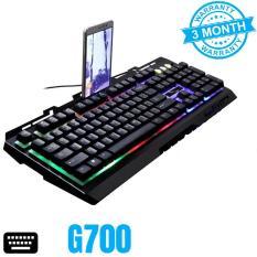Bàn phím giả cơ G700, đèn led, chống nước, mặt kim loại (Đen)