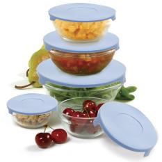 Bộ 5 bát thủy tinh có nắp bảo quản thực phẩm trong tủ lạnh KamiHome(Hàng có hộp)