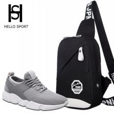 Combo Giày Thể Thao HS 01 và Túi Đeo Chéo Thời Trang HS001 (Đen)