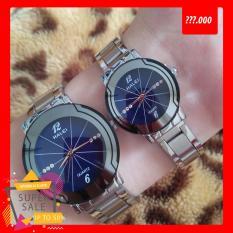 Cặp Đồng hồ Halei nam nữ cao cấp chống xước, chống nước tuyệt đối (Giá 1 đôi) dây trắng mặt xanh