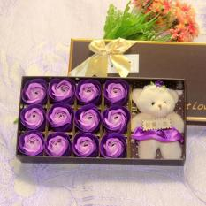 [Xem Clip]Hoa hồng sáp vĩnh cửu 12 bông có gấu (Nhiều màu lựa chọn)