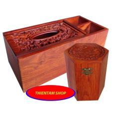 Hộp đựng giấy ăn có hai ngăn tiện ích kèm hộp trà trạm gỗ hương quý hiếm (3N03)