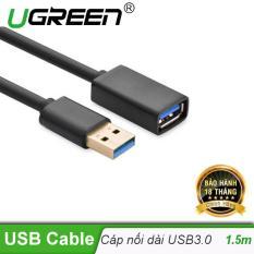 Dây nối dài USB 3.0 mạ vàng dài 1,5M UGREEN US115 30126 (đen)