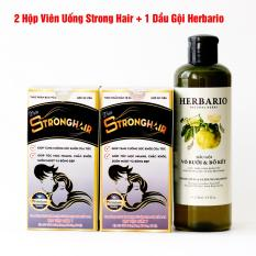 (Liệu Trình Chăm Tóc) 1 Dầu Gội Herbario + 2 Viên Uống Mọc Tóc Strong Hair Học Viện Quân Y