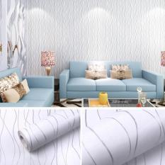 5M Giấy Dán Tường không cần keo – họa tiết sọc xoắn trắng HY9032