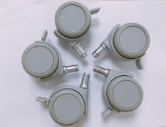 Bộ 5 bánh xe ghế/bàn văn phòng cao cấp – cọc grip ring có khóa Happy Move Thái Lan 50mm (màu xám)