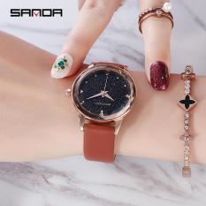 """Đồng hồ nữ SANDA """" Vũ trụ huyền bí """" mặt vát 3D số đính đá cao cấp MDL-SD229"""