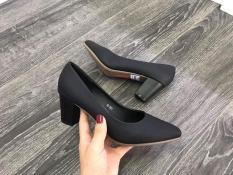 Giày gót vuông đen 5 cm êm chân