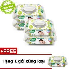 Bộ 4 gói khăn giấy ướt cho trẻ sơ sinh HUGGIES 64 tờ + Tặng 1 gói cùng loại