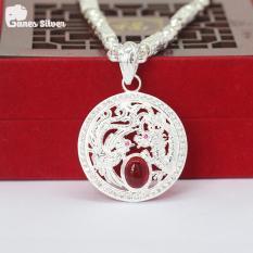 Bộ Dây Chuyền Bạc Nam Hoàng Gia 7 Chỉ Kèm Mặt Long Phụng Chầu Ngọc Đỏ Chất Liệu Bạc Cao Cấp – Thương Hiệu Ganes Silver (Bạc)